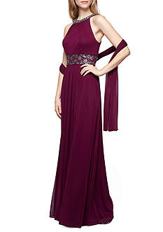 Alex Evenings Beaded Halter Gown with Shawl