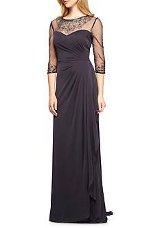 Alex Evenings Beaded Illusion Neckline Gown