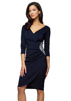 Alex Evenings Surplice Sheath Dress with Bead Embellishment