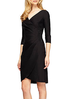 Alex Evenings Bead Embellished Faux Wrap Dress