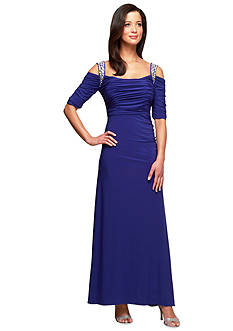 Alex Evenings Elbow-Sleeve Gown with Beaded Strap