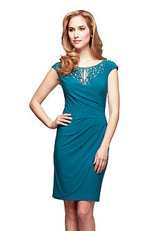 Alex Evenings Cap Sleeve Sheath Dress with Embellished Neckline