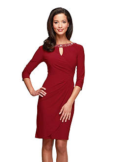 Alex Evenings Three Quarter Sleeve Sheath dress with Embellished Neckline