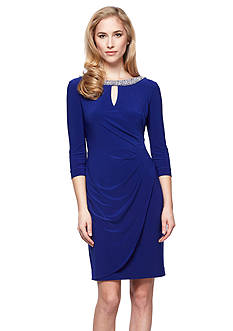 Alex Evenings Embellished Neckline Faux Wrap Dress