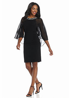 Alex Evenings Bead Embellished Neckline Sheath Dress with Capelet