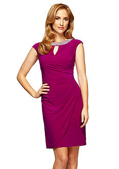 Alex Evenings Embellished Neckline Sheath Dress