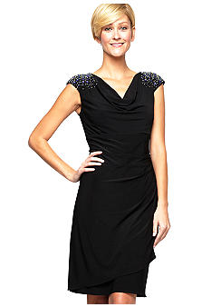 Alex Evenings Cap Sleeved Dress with Beaded Shoulder