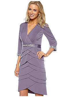 Alex Evenings Three-Quarter Sleeved Surplice Artichoke Pleated Dress