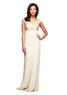 Alex Evenings Cap Sleeve Gown with Sequin