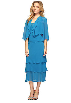 Alex Evenings T-Length Jacket Dress with Cascade Ruffle Jacket