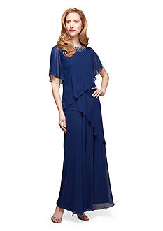 Alex Evenings Asymmetrical Tiered Gown with Embellished Neckline