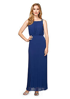 Alex Evenings Pleated Beaded Shoulder Gown