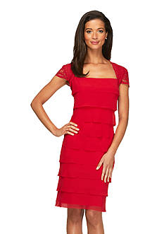 Alex Evenings Cap-Sleeve Tiered Dress with Cutout Back