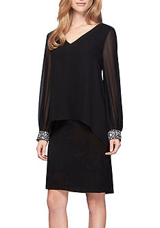 Alex Evenings Bead Embellished Capelet Overlay Dress