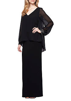 Alex Evenings Bead Embellished Popover Gown