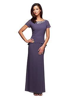 Alex Evenings Short Sleeve Gown with Bead Embellishment