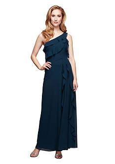 Alex Evenings One Shoulder Tiered Bodice Gown