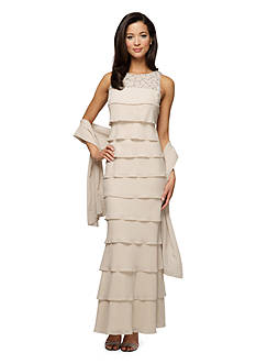 Alex Evenings Tiered Beaded Gown with Shawl