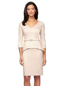 Alex Evenings Peplum Belted Dress