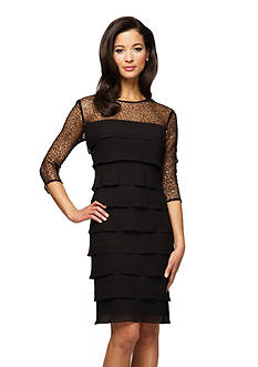 Alex Evenings Three-Quarter Sleeve Tiered Dress with Sequin