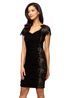 Cap-Sleeve Cocktail Dress with Sequins