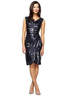 Alex Evenings Cowl-neck Cocktail Dress