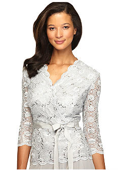 Alex Evenings Three-Quarter Sleeved Allover Lace Blouse with Tie Belt