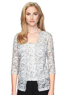 Alex Evenings Floral Lace Twinset