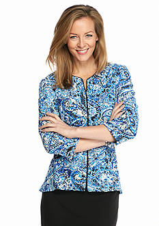 Alex Evenings Lace and Sequin Zip Front Peplum Jacket