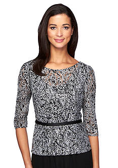 Alex Evenings Printed Lace Belted Blouse