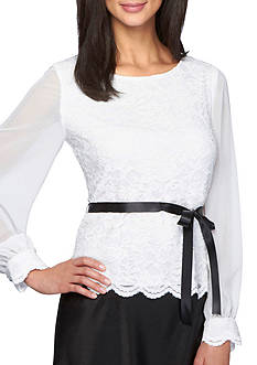 Alex Evenings Sheer Sleeve Lace Blouse