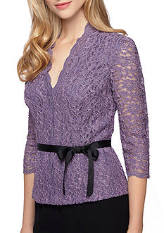 Alex Evenings Lace Blouse with Self Tie Ribbon Belt