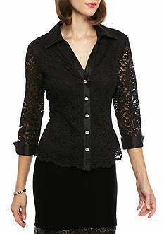 Alex Evenings Button Front Lace Blouse