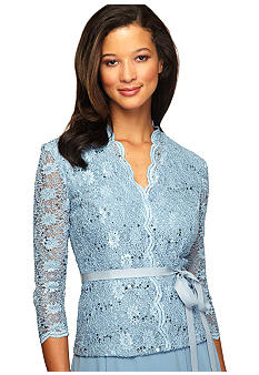 Alex Evenings Three-Quarter Sleeved lace and Sequin Blouse