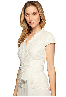 Alex Evenings Cap-Sleeved Lace Blouse