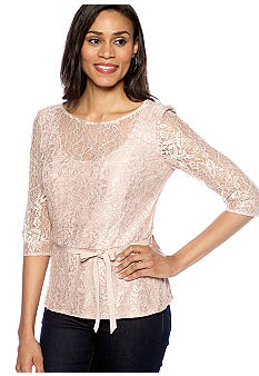 Alex Evenings Three-Quarter Sleeved Lace Blouse
