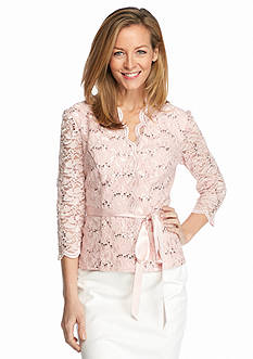 Alex Evenings Lace and Sequin Blouse with Ribbon Tie Belt