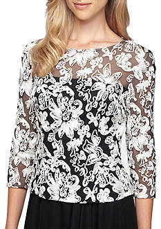 Alex Evenings Embroidered Mesh Blouse