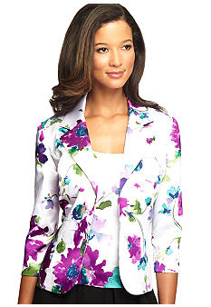 Alex Evenings Three-Quarter Sleeved Printed Satin Twin Set
