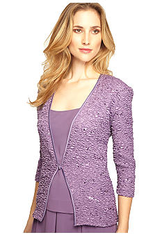 Alex Evenings Three-Quarter Sleeved Twin Set with Sequins