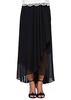 Alex Evenings Asymmetrical Cascade Overlay Tulip Skirt