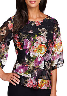 Alex Evenings Floral Triple Tiered Blouse