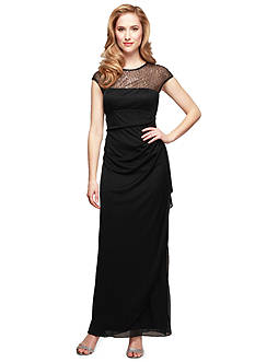 Alex Evenings Long Gown with Illusion Neckline