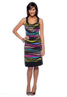Robbie Bee Sleeveless Striped Shift Dress