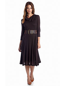 Robbie Bee Three Quarter Sleeve Belted Boot Length Dress