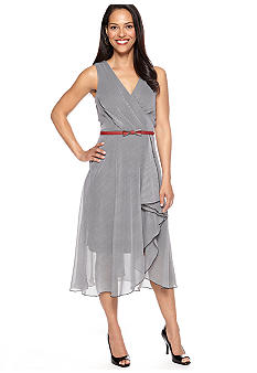 Robbie Bee Sleeveless Stripe Chiffon Belted Dress