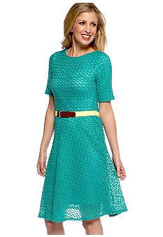 Robbie Bee Belted Knit Dress