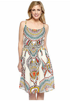 Robbie Bee Spaghetti Strap Tribal Print Dress
