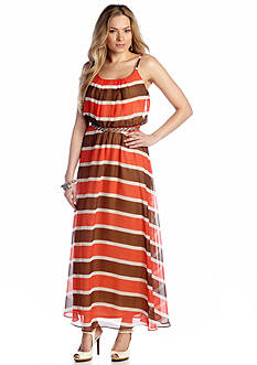Robbie Bee Striped Belted Maxi Dress