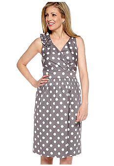 Robbie Bee Sleeveless Polka Dot Surplice Dress